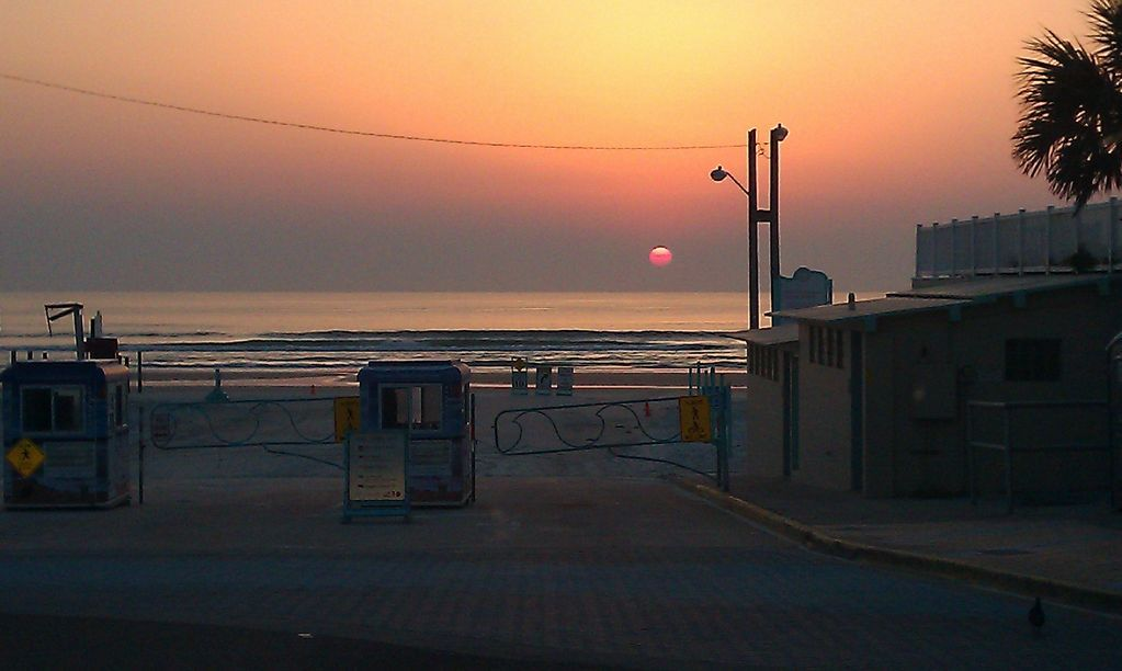 Sunrise at the beach entrance